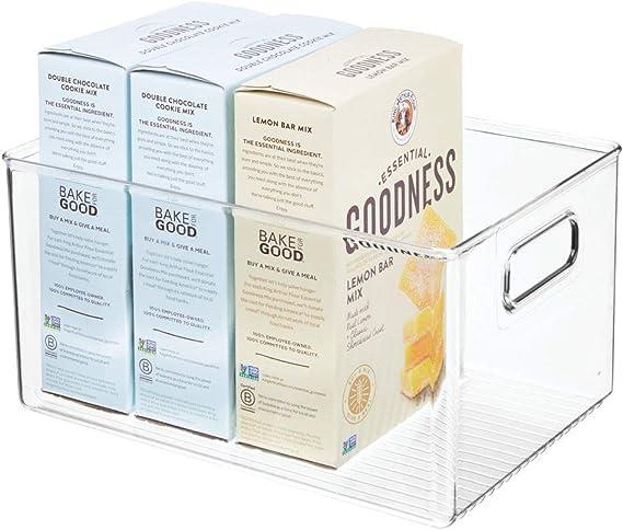 mDesign Caja organizadora con asas – Organizador de frigorífico ...