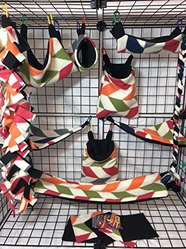 15 Piece Multi Color Broken Chevron Sugar Glider Cage Set