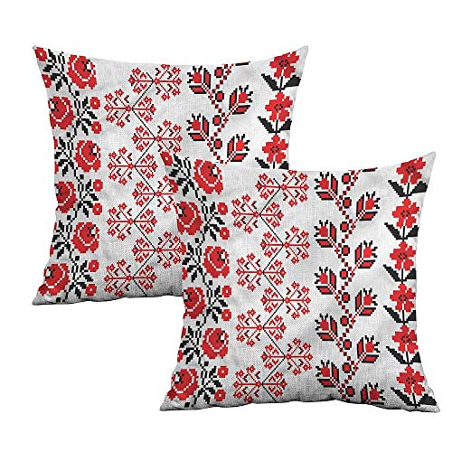 Khaki home Ukrainian Square Pillowcase Protector Pixellated Garden Art Square Pillowcase Covers Cushion Cases Pillowcases for Sofa Bedroom Car W 20