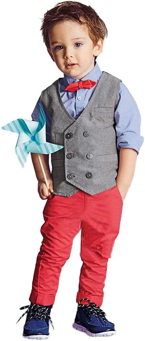 Waistcoat Tianhaik Boy Suits Long Sleeve Bowtie Shirt Long Pants Gentleman Clothes
