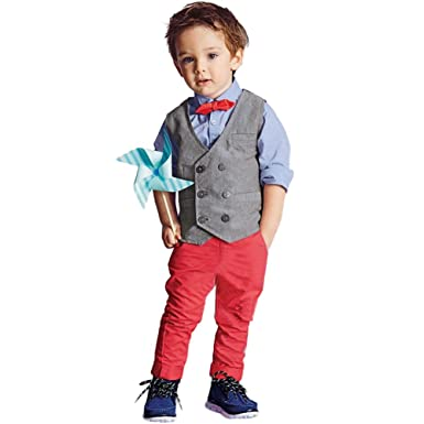 77b0b41f3789 Boys Waistcoat, Boys Clothing Set - Kids Suits & Gentleman Sets with Vest +  Bowknot