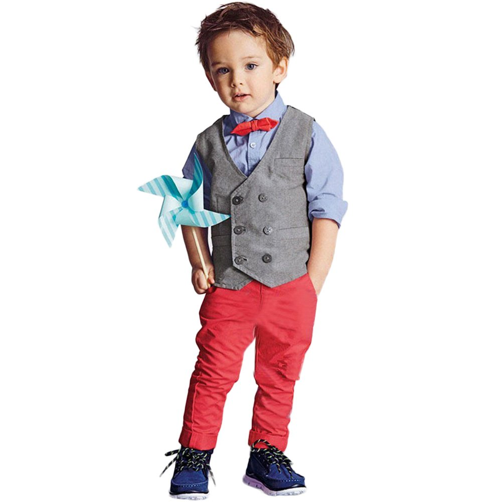 FAVOLOOK Boys Waistcoat, Kids Suits & Gentleman Sets with Vest + Bowknot Shirt + Pants for Daily Wear Special Occasion