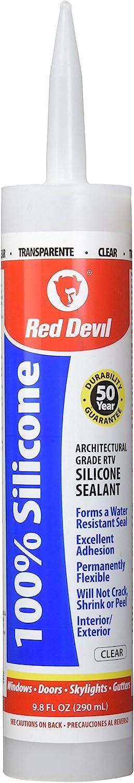 Red Devil 0826 Architectural Grade 50 Year 100% Silicone Sealant, Clear, 9.8 oz Cartridge
