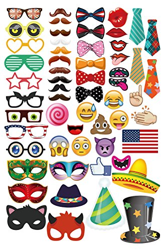 Emoji Faces Photo Booth Props 58 Piece