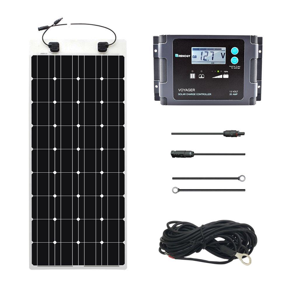 Renogy 100 Watt 12 Volt Solar Marine Kit with Ultra Flexible Solar Panel,  Waterproof Charge Controller, and Temperature Sensor - - Amazon.com