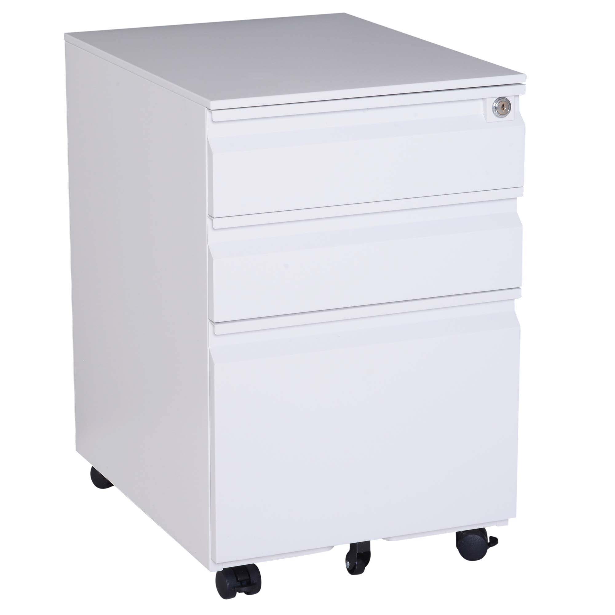 HOMCOM 24'' Steel 3 Drawer Locking File Cabinet on Wheels - White by HOMCOM