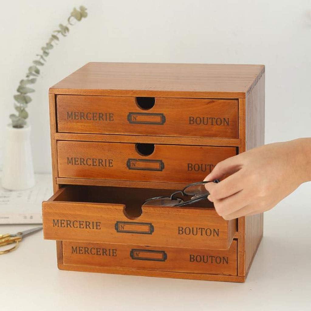 Schreibtisch organizer Desktop Organizer Vintage Schubladenbox aus massivem Holz mit 4 Schubladen
