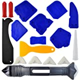 18 Pieces Caulking Tool Kit, Wobe 3 in 1 Caulking Tools Silicone Sealant Finishing Tool Grout Scraper Caulk Remover Caulk Nozzle Caulk Caps 5 Replaceable Pads for Bathroom Kitchen Sealing (Blue)