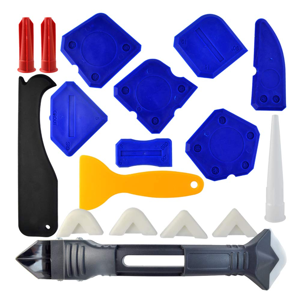 18 Pieces Caulking Tool Kit, Wobe 3 in 1 Caulking Tools Silicone Sealant Finishing Tool Grout Scraper Caulk Remover Caulk Nozzle and Caulk Caps 3 Replaceable Pads for Bathroom Kitchen Room Sealing