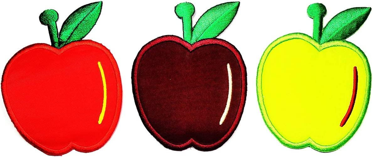 Umama Patch Set of 3 Colorful Apple Fruit Sweets Cartoon Applique Patch Cute Apple Fruit Embroidered Iron On or Sew On Patch Craft Clothing Decorative Repair