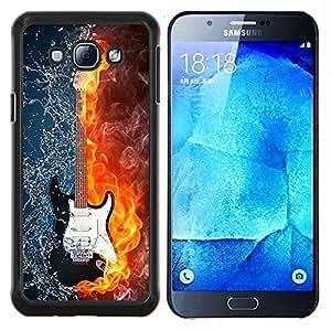 EJOOY---Cubierta de la caja de protección para la piel dura ** Samsung Galaxy A8 A8000 ** --El agua y el fuego de la guitarra