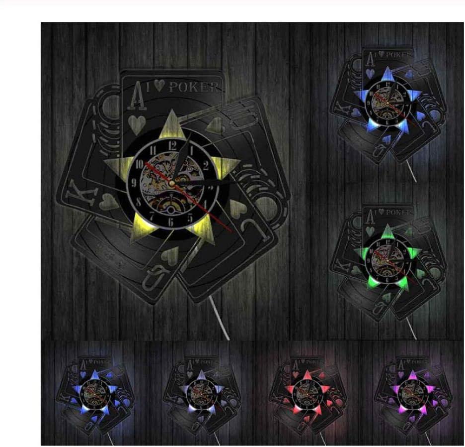 VJIEBF I Love Poker Cards Game Royal Flush Spades Gamble Room Decor Wall Clock Las Vegas Gamer Winner Vinyl Record Wall Clock