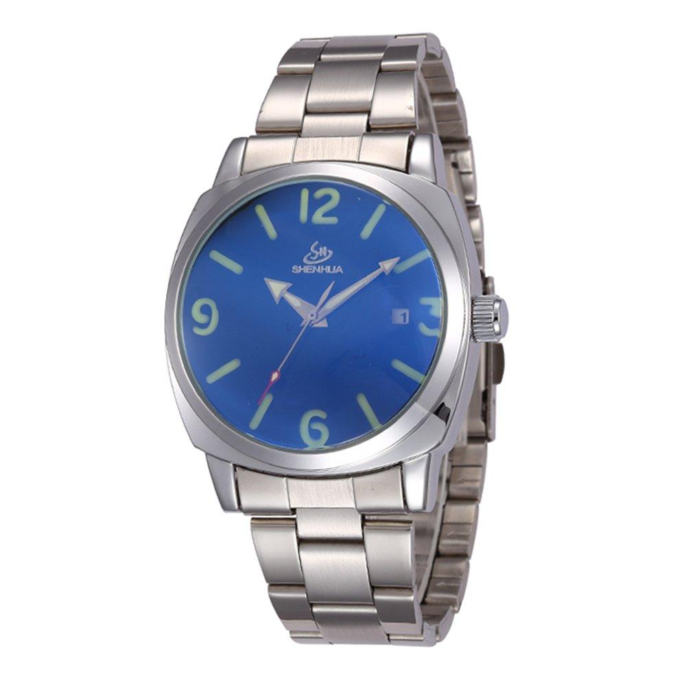 SHENHUA自動機械腕時計スケルトンhollow-outガラスコーティングブルー腕時計 B06Y4557G8