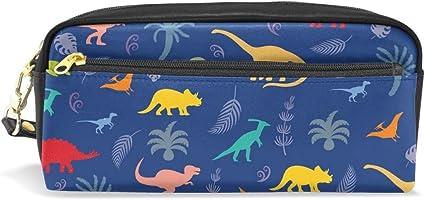 Bonie Forest - Estuche para lápices con diseño de dinosaurio y palma, para la escuela, artículos de papelería, viajes, cosméticos y maquillaje: Amazon.es: Oficina y papelería