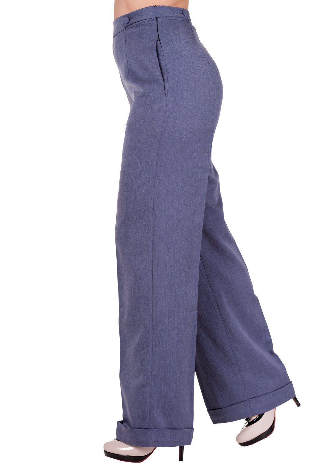 Rosie the Riveter Costume & Outfit Ideas Denim Banned Party On Trousers - 26 to 34 Inch Waist $33.82 AT vintagedancer.com