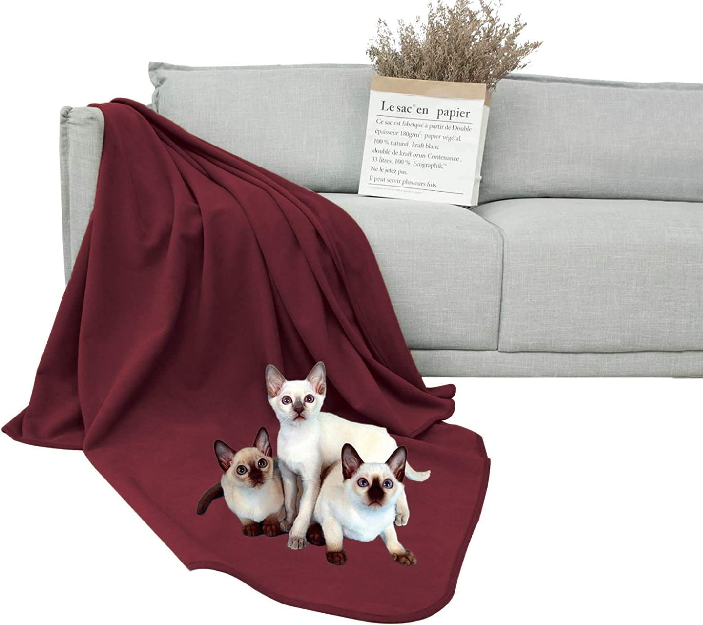 DEARTOWN 100% Waterproof Furniture Cover for Dogs and Cats,Super Soft Pet Blanket for Bed Couch Sofa (70x120 Inches, Burgundy)