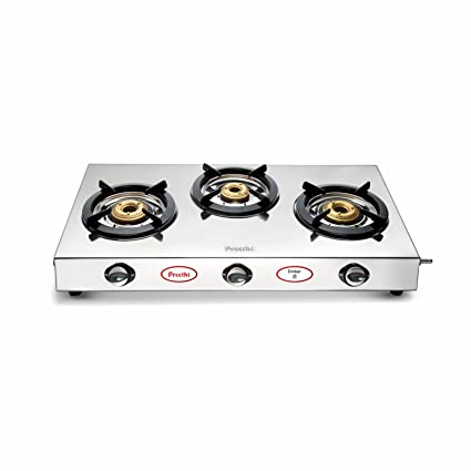 1ca7ad9fc Buy Preethi Ember Stainless Steel 3-Burner Gas Stove Online at Low Prices  in India - Amazon.in