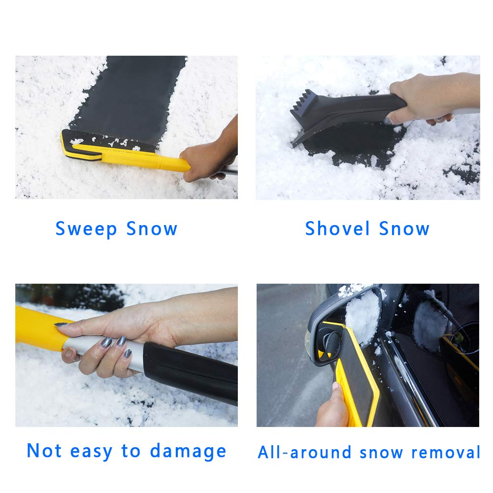 2 in 1 Dual Head 26 with Squeegee and Integrated Auto Ice Scraper for Car Truck SUV Windshield Glass Car Snow Remover Ice Scraper Tough Durable Eashy Auto Snow Brush Lightweight Car Snow Brush