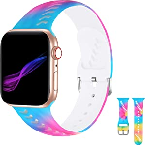 iWabcertoo Floral Bands Compatible with Apple Watch Band 38mm/40mm, Soft Silicone Fadeless Pattern Printed Replacement Sport Bands for iWacth SE & Series 6 5 4 3 2 1 for Women/Men
