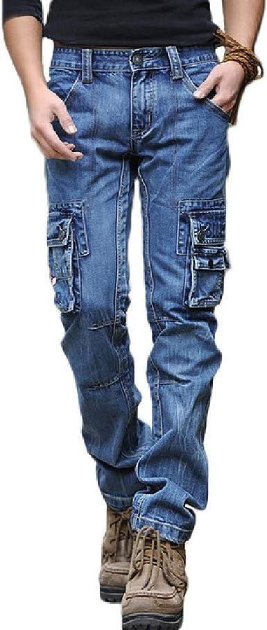 Amazon Com Hombres Azul Cargo Jeans Multi Bolsillos Largo Recto Ajuste Pantalones De Mezclilla De Los Hombres Al Aire Libre Casual Jeans X1648 Classic 30 Clothing