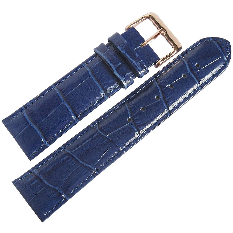 Fluco crocodile-grain 18 mmロイヤルブルーレザーローズゴールドバックル腕時計ストラップ  B01KJ1I97A
