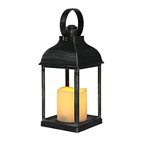 Deko Garten Laterne Windlicht Mit Led Kerze H24cm Antikes Schwarz