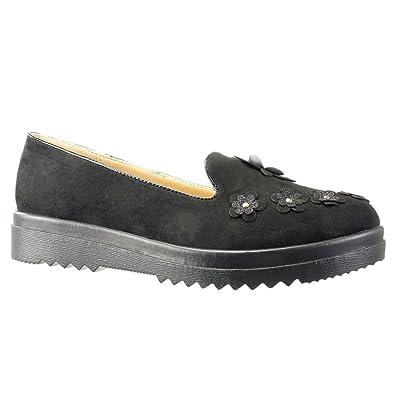 993d5952f0339 Angkorly - Chaussure Mode Mocassin Slip-on Semelle Basket Femme Fleurs  clouté Fantaisie Talon compensé