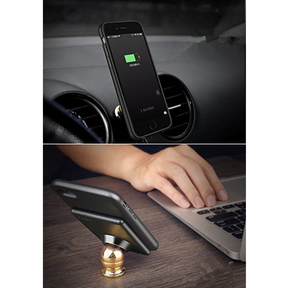 Qi Car Wireless Charger with 2-in-1 Magnetic Receiver Charging Case,Portable Wireless Mobile Phone Charger Case with Stand for iPhone 6//6S,iPhone 7//7s Strong Magnetic Holder iPhone 7//7s 4.7 ,360/° Rotation B-1 4.7/'
