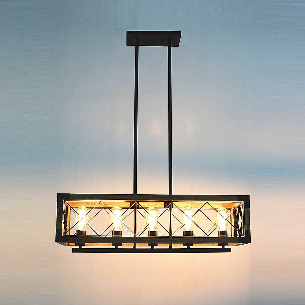Baiwaiz Rustic Kitchen Island Light, 5-Light Square Wood and Metal ...