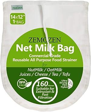 160 Micron Pro Quality Nut Milk Bag for Straining Reusable, 14