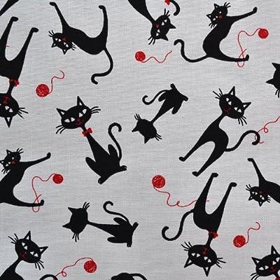 Textiles français Tela gato descarado el gato negro (blanco y negro) - 100% algodón suave | ancho: 140cm (1 metro)