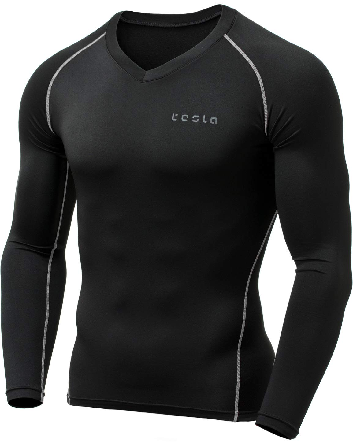 TSLA Men's Thermal Wintergear Compression Baselayer Vneck Long Sleeve Top, Thermal V Neck(yuv34) - Black & Light Grey, X-Large by TSLA