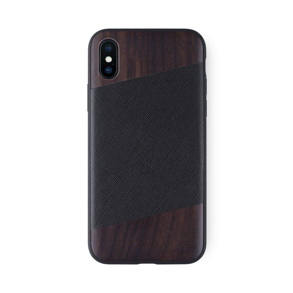 iATO iPhone X / XS Case Black Saffiano Genuine Leather & Real Bois de Rose Wood Premium Protective Unique & Classy Cover Designed for iPhone X (2017) / XS (2018) - Supports Wireless Charging