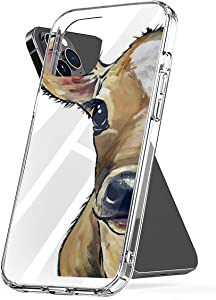 Phone Case Cow Art Cute Calf with Flower Crown Farmhouse Art Close Up Cow Art Compatible with iPhone 6 6s 7 8 X XS XR 11 Pro Max SE 2020 Samsung Galaxy Accessories Anti Bumper