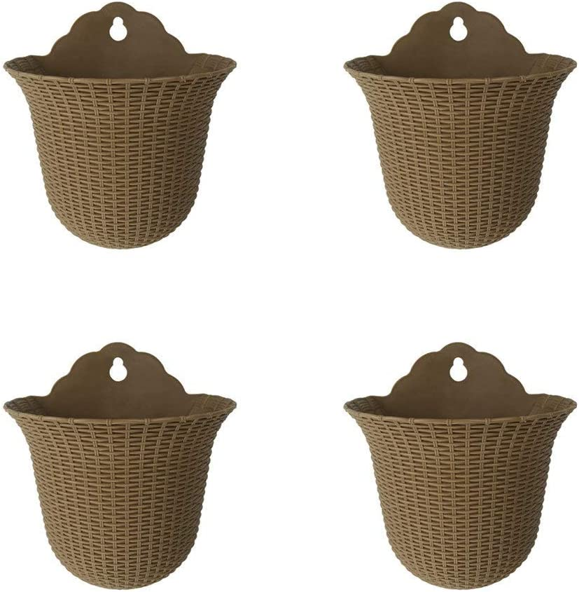 UPIE Wall Mountable Hanging Planter Basket Pots of Flowers Bonsai Plants for Home Garden Office Decoration 4, Brown