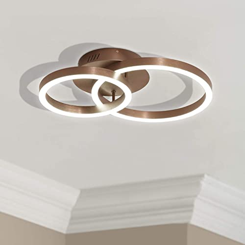 Leniure Gold Circular LED Light Ceiling Lamp Chandelier Lighting Fixture 23 Wide 16 Deep 5 High, Warm White 3000K