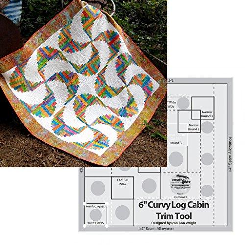 Bundle of Creative Grids Curvy Log Cabin Trim Tool 6in Finished Blocks and Cut Loose Press Rainbow Swirls Curvy Log Cabin Quilt Pattern