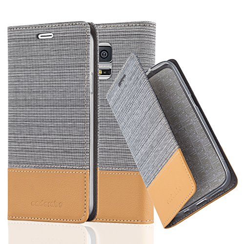 Cadorabo - Book Style Wallet for Samsung Galaxy S5 with Stand Function, Card Slot and invisible Magnetic Closure in Fabric-Fauxleather Design - Etui Case Cover Protection in LIGHT-GREY-BROWN (Function Fabric)