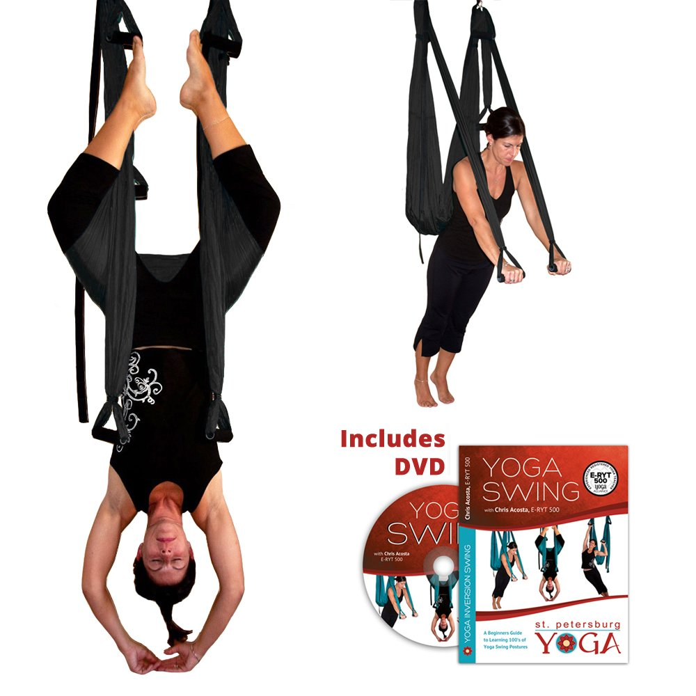 Black Yoga Inversion Swing + Yoga Swing DVD by Chris Acosta by Gravotonics; St. Petersburg Yoga