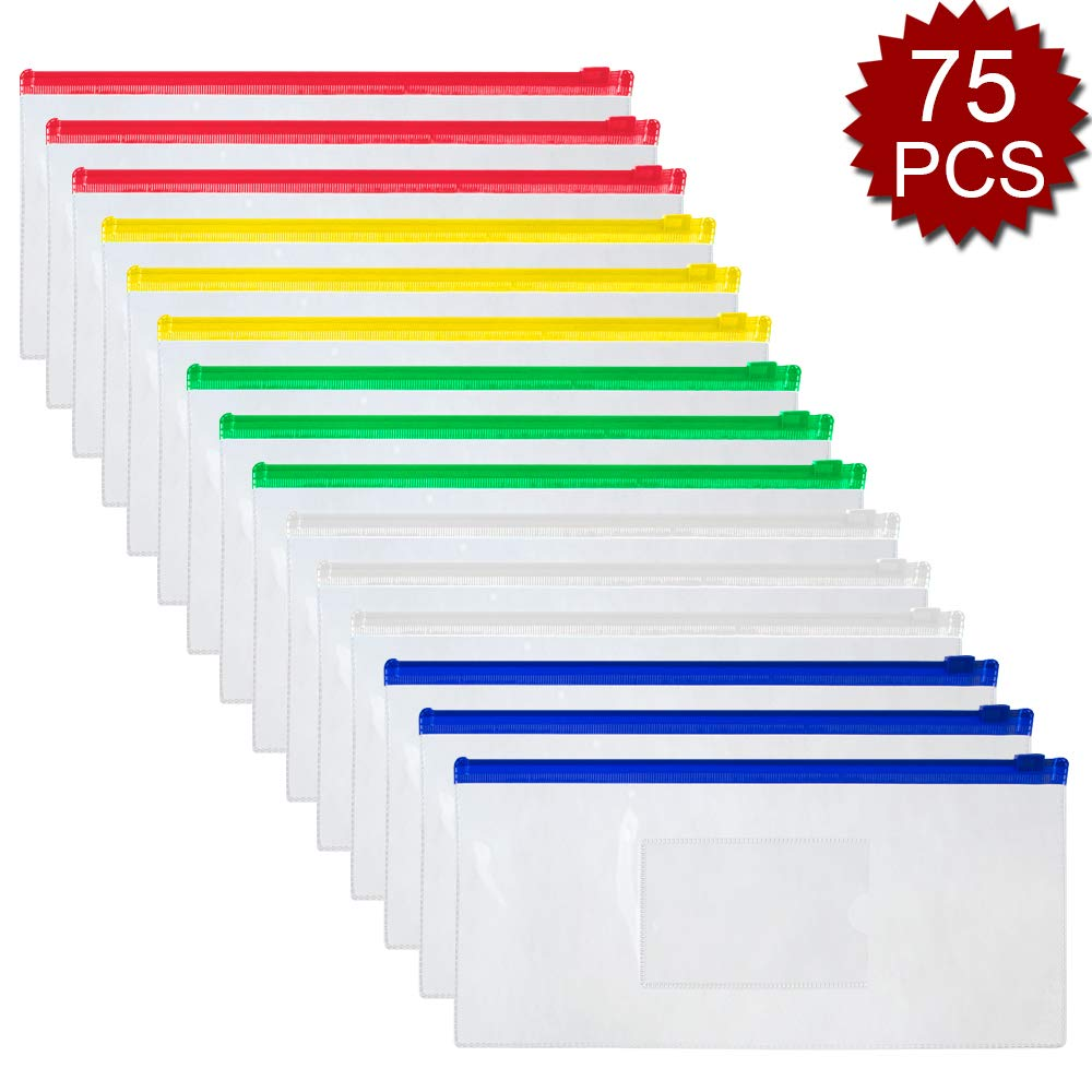 OFFICESHIP 75 PCS Poly Zipper Envelope File Folders Transparent A6, Check-Size File Bags, Pen Pouches Pencil Case 5 Colors