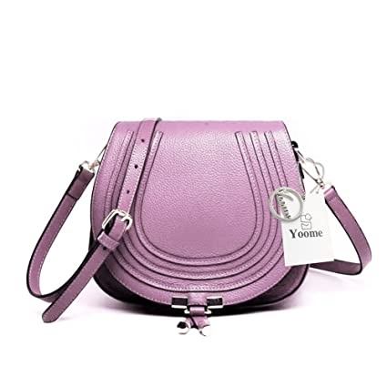94c7bc549c33f Amazon.com: Yoome Elegant Shoulder Bags for Women Genuine Leather Clutch  for Girls Cross Body Saddle Purse for Ladies - Purple: Arts, Crafts & Sewing
