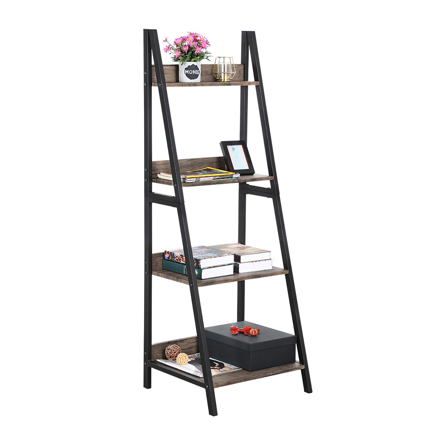 GreenForest Ladder Shelf 4 Tier Bookcase Metal Frame Bookshelf Home Office Storage Rack Shelf Plant Stand, Walnut