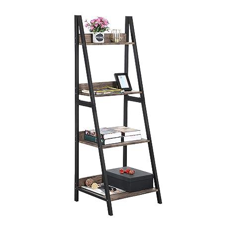 innovative design 060c6 2c153 GreenForest Ladder Shelf 4 Tier Bookcase Metal and Wood Bookshelf Home  Office Storage Rack Shelf Plant Stand, Walnut