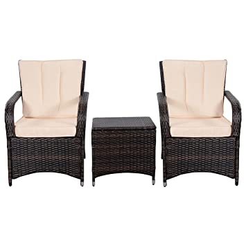 Tangkula 3 PCS Outdoor Patio Sofa Sets Rattan Furniture Two Arm Chairs And  Ende Table