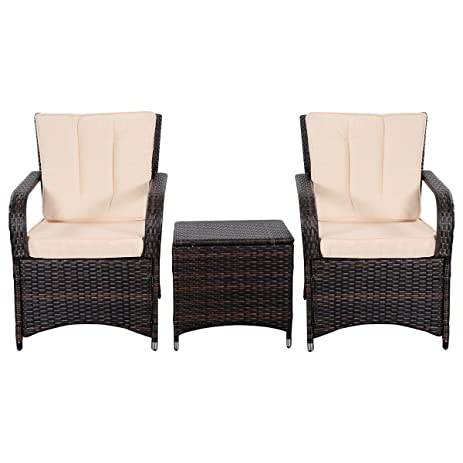 Superbe Tangkula 3 PCS Outdoor Patio Sofa Sets Rattan Furniture Two Arm Chairs And  Ende Table