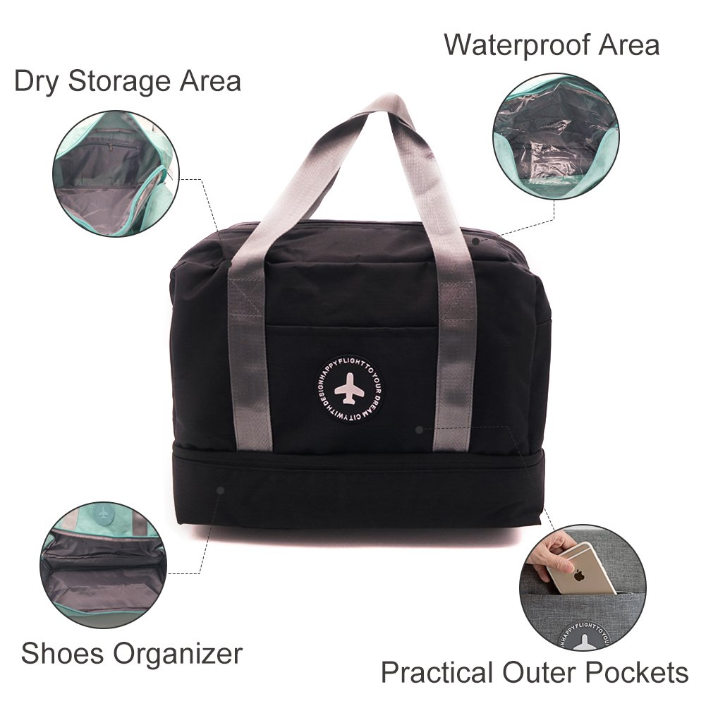 Duwee Multifunction Beach Tote Bag Travel Storage Bag with Dry Area, Waterproof Area and Shoes Storage Area, Diaper Bag (Black)