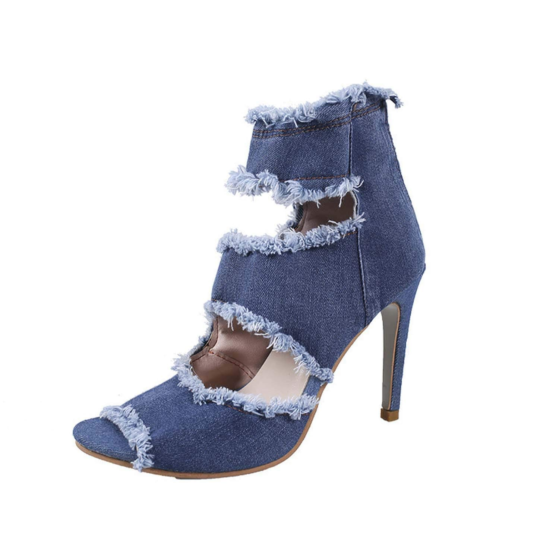 bluee HuangKang Summer Hollow Female Sandals Thick High Heel Fashion Sandals Women's Party Sandals