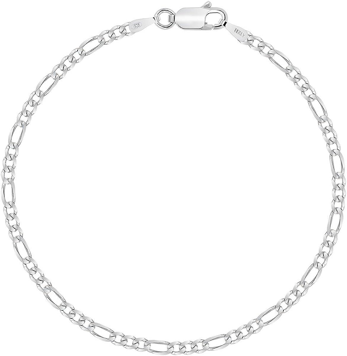 Planetys Bracelet Argent 925//1000 Rhodi/é Maille Figaro 2.5 mm 1+3