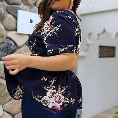 2a57d6e22f670a Leadmall Women Zipper Chiffon Blouse| Plus Size Short Sleeve Tops Loose Peplum  V Neck Tee Shirt at Amazon Women's Clothing store: