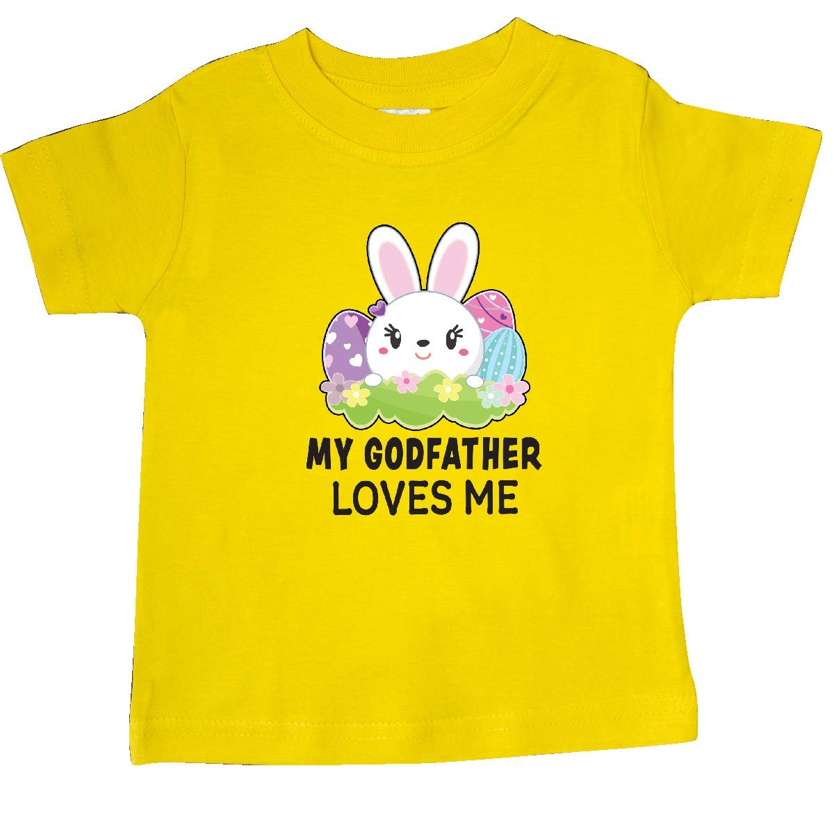 inktastic My Godfather Loves Me with Bunny and Easter Eggs Baby T-Shirt